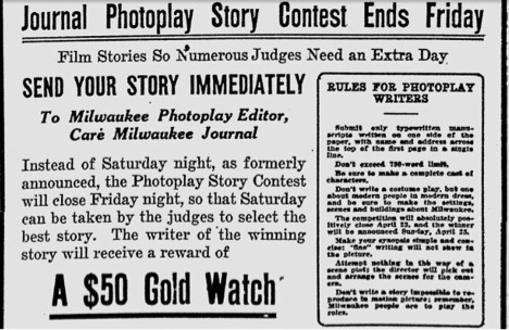 Transcription: Journal Photoplay Story Contest Ends Friday. Film Stories So Numerous Judges Need an Extra Day…