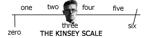 A horizontal scale labelled from zero to six with the caption 'The Kinsey Scale' with a head sitting at the number three position