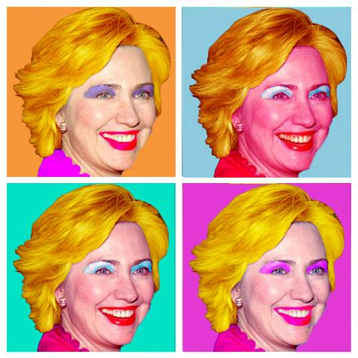 A piece of fanart in the style of Andy Warhol, depicting four headshots of Hillary Clinton placed in a grid arrangement, each one with a different brightly-coloured colour scheme.