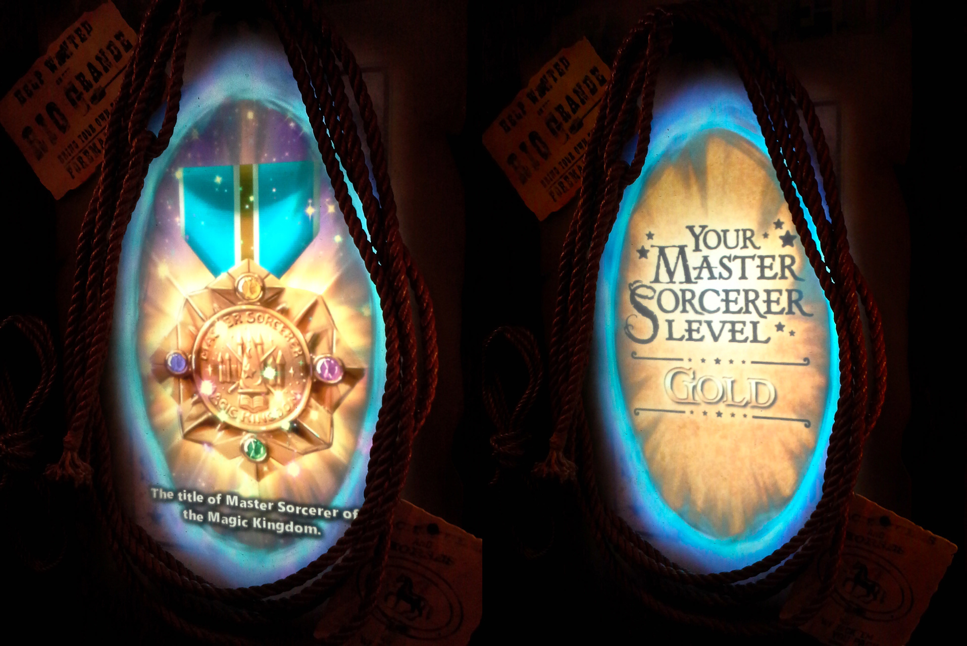 Two oval-shaped portals encircled in bright blue, both placed within two coils of rope that are hanging on a wall. The left-hand portal shows an image of a gold medal on a blue ribbon, studded with four round gems - yellow, pink, green and blue-purple. The text underneath reads, 'The title of Master Sorceror of the Magic Kingdom'. The right-hand portal has a golden background, with black text reading, 'Your Master Sorceror Level', and then the word GOLD below in gold lettering.