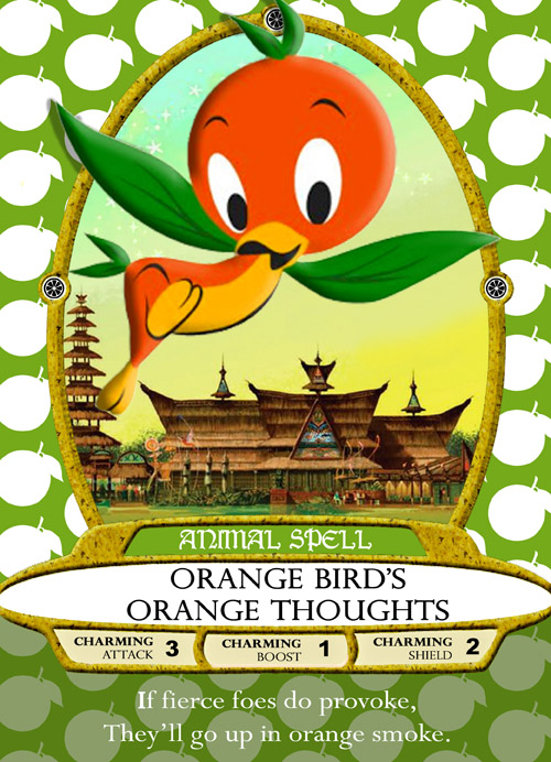 A picture of a spell card from Sorcerers of the Magic Kingdom. The card is grass green with a pattern of white apples as its background. A cute orange bird character with green, leaf-like wings, rounded feet and little green leaves on its head and rear is in the centre of the card in an oval frame. Behind it is a background of wooden pagodas and palaces. Underneath the oval is a label reading 'Animal Spell', and then below that, 'Orange Bird's Orange Thoughts'. Below that is a list of attributes: charming attack 3, charming boost 1, and charming shield 2. Finally at the bottom of the card is a poem: 'If fierce foes do provoke, they'll go up in orange smoke.'