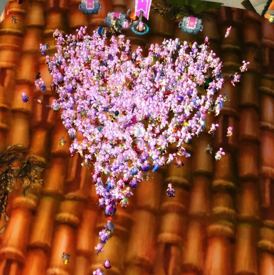 A heart shaped cluster of pink haired gnome avatars.