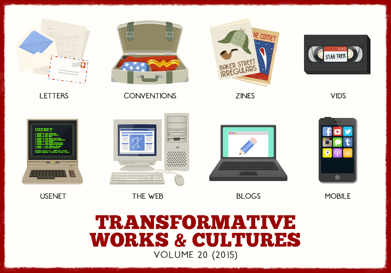 series of icons illustrating Letters, Conventions, Zines, Vids, Usenet, The Web, Blogs, Mobile - Transformative Works and Cultures Volume 20 (2015)